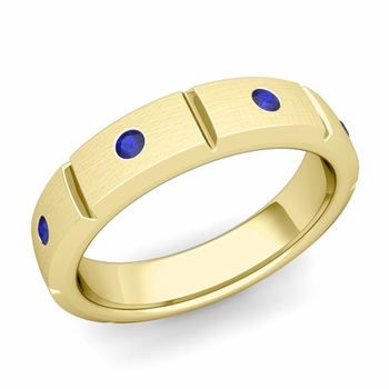 Swiss Cut Sapphire Wedding Anniversary Ring in 18k Gold Brushed Ring, 5mm