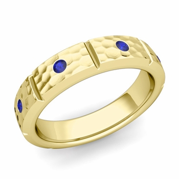 Swiss Cut Sapphire Wedding Anniversary Ring in 18k Gold Hammered Ring, 5mm