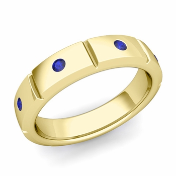 Swiss Cut Sapphire Wedding Anniversary Ring in 18k Gold Shiny Ring, 5mm