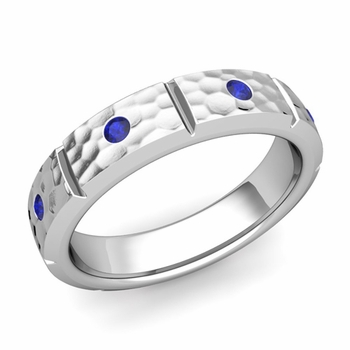 Swiss Cut Sapphire Wedding Anniversary Ring in Platinum Hammered Ring, 5mm