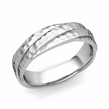 Past Present Future Wedding Band in 14k Gold Hammered Finish Ring, 5mm