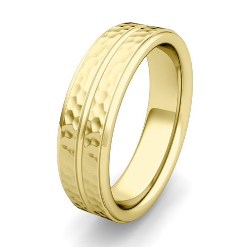 Hammered Park Avenue Mens Wedding Ring Band In 14k Gold 6mm
