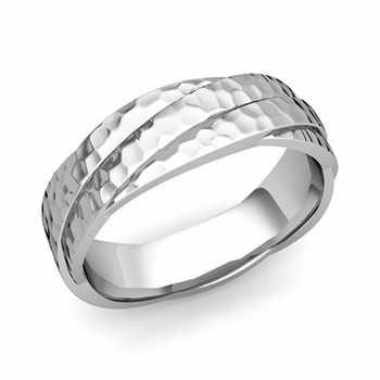 Past Present Future Wedding Band in 14k Gold Hammered Finish Ring, 6mm