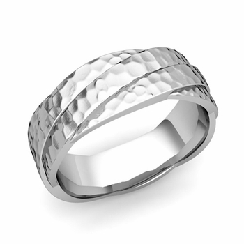 Past Present Future Wedding Band in 14k Gold Hammered Finish Ring, 7mm