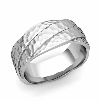 Past Present Future Wedding Band in 14k Gold Hammered Finish Ring, 8mm
