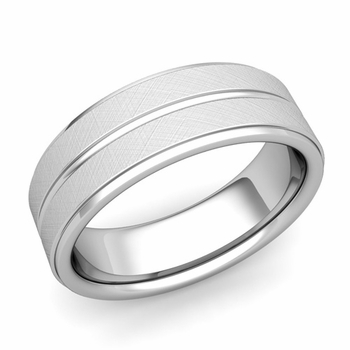 Comfort Fit Park Avenue Wedding Band in 14k Gold Brushed Finish Ring, 7mm