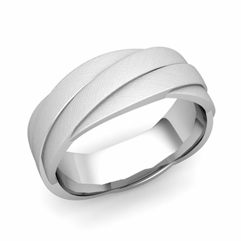 Past Present Future Wedding Band in 14k Gold Mixed Brushed Finish Ring, 7mm