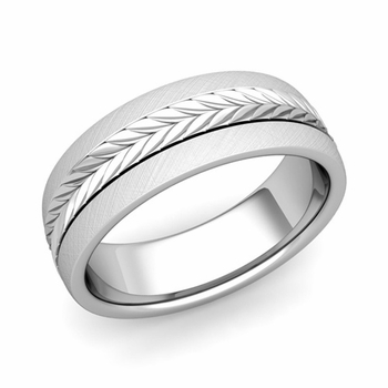 Garland Comfort Fit Wedding Band in 14k Gold Mixed Brushed Finish Ring, 7mm