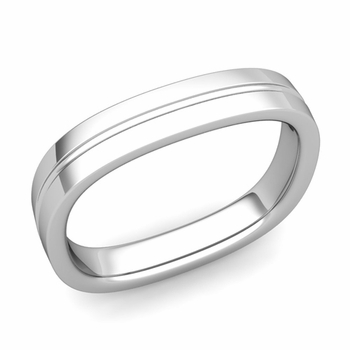 Square Wedding Ring in 14k Gold Shiny Finish Comfort Fit Wedding Band, 4mm