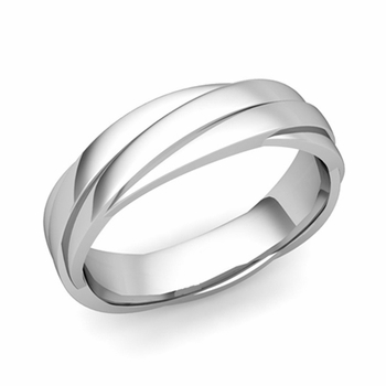 Past Present Future Wedding Band in 14k Gold Polished Finish Ring, 5mm