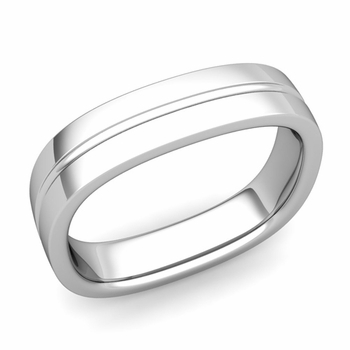 Square Wedding Ring in 14k Gold Shiny Finish Comfort Fit Wedding Band, 5mm