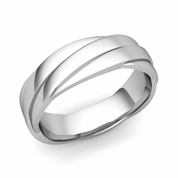 Past Present Future Wedding Band in 14k Gold Polished Finish Ring, 6mm