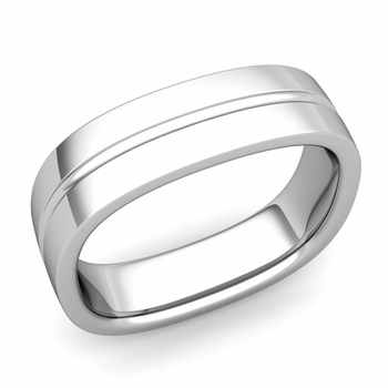 Square Wedding Ring in 14k Gold Shiny Finish Comfort Fit Wedding Band, 6mm