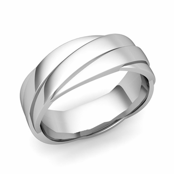 Past Present Future Wedding Band in 14k Gold Polished Finish Ring, 7mm