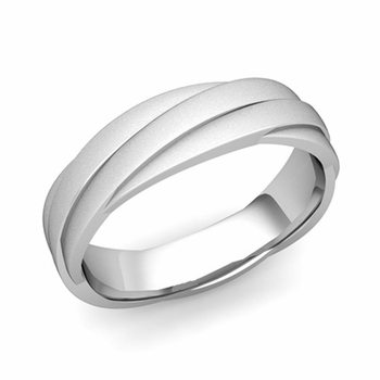 Past Present Future Wedding Band in 14k Gold Satin Matte Finish Ring, 5mm