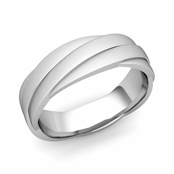 Past Present Future Wedding Band in 14k Gold Satin Matte Finish Ring, 6mm