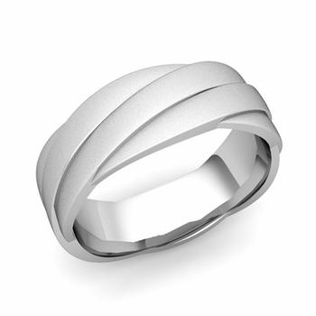 Past Present Future Wedding Band in 14k Gold Satin Matte Finish Ring, 7mm