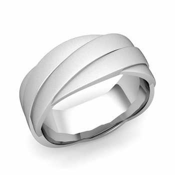 Past Present Future Wedding Band in 14k Gold Satin Matte Finish Ring, 8mm