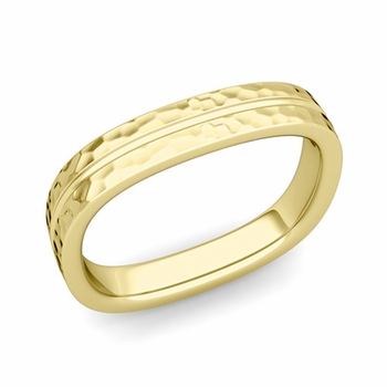 Square Wedding Ring in 18k Gold Hammered Finish Comfort Fit Wedding Band, 4mm