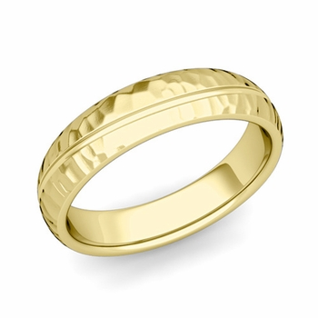 Wave Comfort Fit Wedding Band in 18k Gold Hammered Finish Ring, 5mm