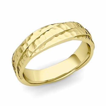 Past Present Future Wedding Band in 18k Gold Hammered Finish Ring, 5mm