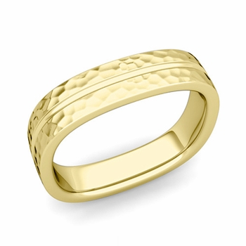 Square Wedding Ring in 18k Gold Hammered Finish Comfort Fit Wedding Band, 5mm
