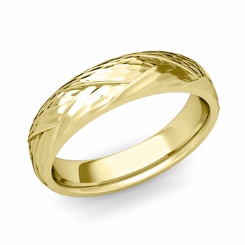 Love Folding Hammered Finish Wedding Ring in 18k gold Comfort Fit Band, 5mm