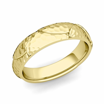 Harmony Comfort Fit Wedding Band in 18k Gold Hammered Finish Ring, 5mm