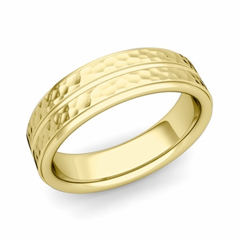 Comfort Fit Park Avenue Wedding Band in 18k Gold Hammered Finish Ring, 6mm
