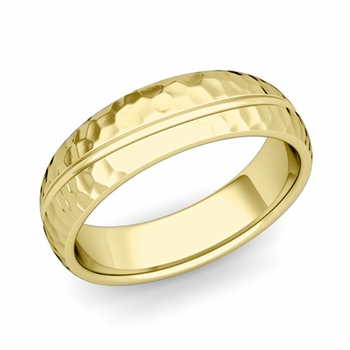 Wave Comfort Fit Wedding Band in 18k Gold Hammered Finish Ring, 6mm