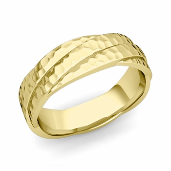 Past Present Future Wedding Band in 18k Gold Hammered Finish Ring, 6mm