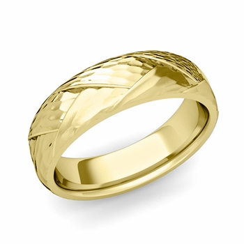 Love Folding Hammered Finish Wedding Ring in 18k gold Comfort Fit Band, 6mm