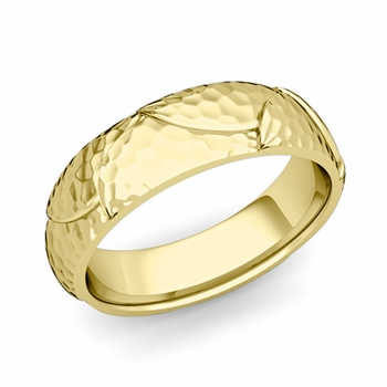 Harmony Comfort Fit Wedding Band in 18k Gold Hammered Finish Ring, 6mm