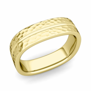 Square Wedding Ring in 18k Gold Hammered Finish Comfort Fit Wedding Band, 6mm