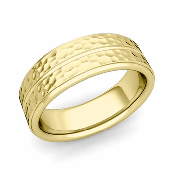 Comfort Fit Park Avenue Wedding Band in 18k Gold Hammered Finish Ring, 7mm