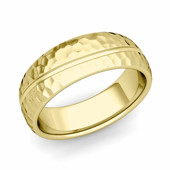 Wave Comfort Fit Wedding Band in 18k Gold Hammered Finish Ring, 7mm