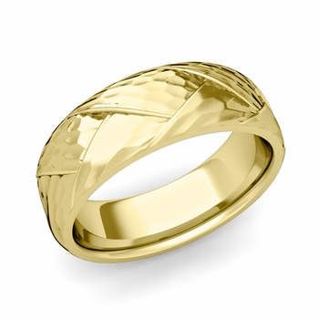 Love Folding Hammered Finish Wedding Ring in 18k gold Comfort Fit Band, 7mm
