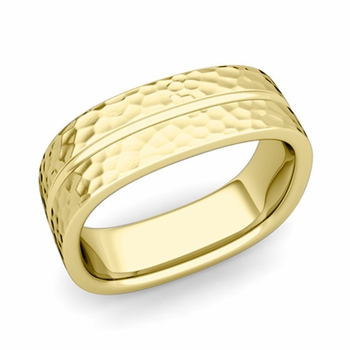 Square Wedding Ring in 18k Gold Hammered Finish Comfort Fit Wedding Band, 7mm