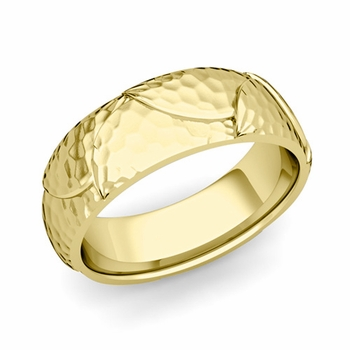 Harmony Comfort Fit Wedding Band in 18k Gold Hammered Finish Ring, 7mm