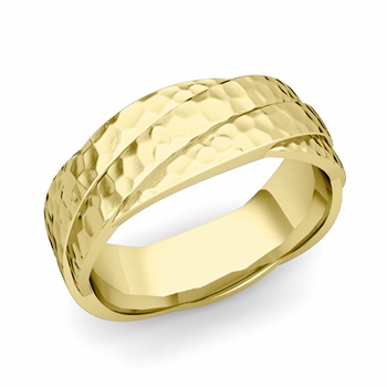Past Present Future Wedding Band in 18k Gold Hammered Finish Ring, 7mm