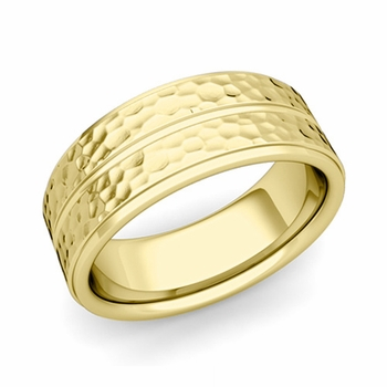 Comfort Fit Park Avenue Wedding Band in 18k Gold Hammered Finish Ring, 8mm
