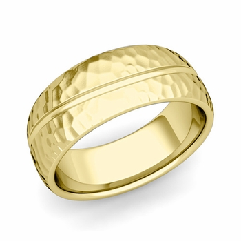 Wave Comfort Fit Wedding Band in 18k Gold Hammered Finish Ring, 8mm