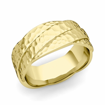Past Present Future Wedding Band in 18k Gold Hammered Finish Ring, 8mm