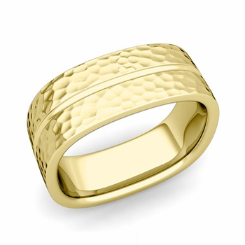 Square Wedding Ring in 18k Gold Hammered Finish Comfort Fit Wedding Band, 8mm