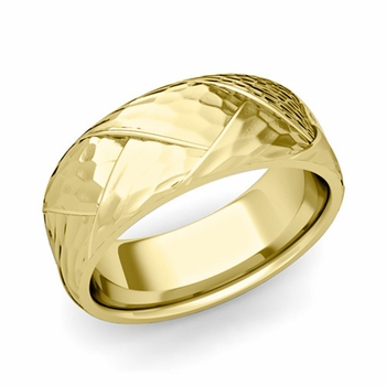 Love Folding Hammered Finish Wedding Ring in 18k gold Comfort Fit Band, 8mm