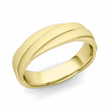 Past Present Future Wedding Band in 18k Gold Mixed Brushed Finish Ring, 5mm