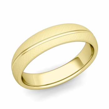 Wave Comfort Fit Wedding Band in 18k Gold Mixed Brushed Finish Ring, 5mm