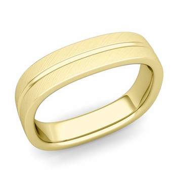 Square Wedding Ring in 18k Gold Brushed Finish Comfort Fit Wedding Band, 5mm