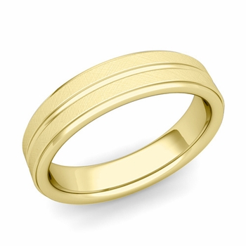 Comfort Fit Park Avenue Wedding Band in 18k Gold Brushed Finish Ring, 5mm