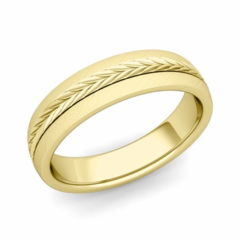 Garland Comfort Fit Wedding Band in 18k Gold Mixed Brushed Finish Ring, 5mm